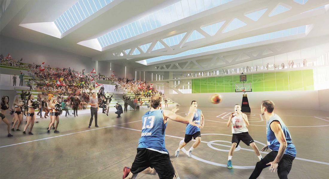 Visualisation, render, graphic, stadium, competition, architecture, design, interior design, architects austria, sport, basketball, construction