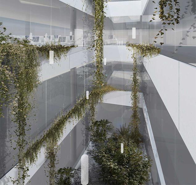 Architecture, office building, interior design, nature, glass, visualisation, render, graphic, austrian architecture, Vienna