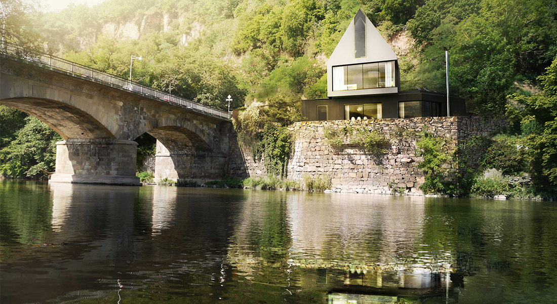 Visualisation, render, graphic, river, hous, rebuilt, germany, austrian architecture, design, modern form, old brige, germany
