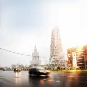 Visualisation, render, graphic, architecture, skyscraper, rhino, grasshoper, nature, inhaler, Świętokrzyska, palace of culture, competition, evolo
