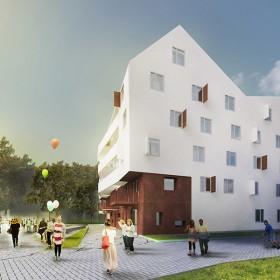 Visualisation, Render, Graphic, design, social building, housing, stone, plaster, fun, park, vienna, austrian architecture,