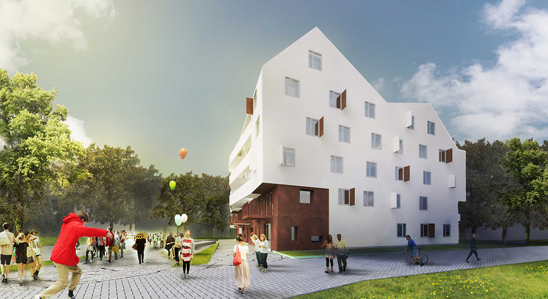 Visualisation, Render, Graphic, design, social building, housing, stone, plaster, fun, park, vienna, austrian architecture,