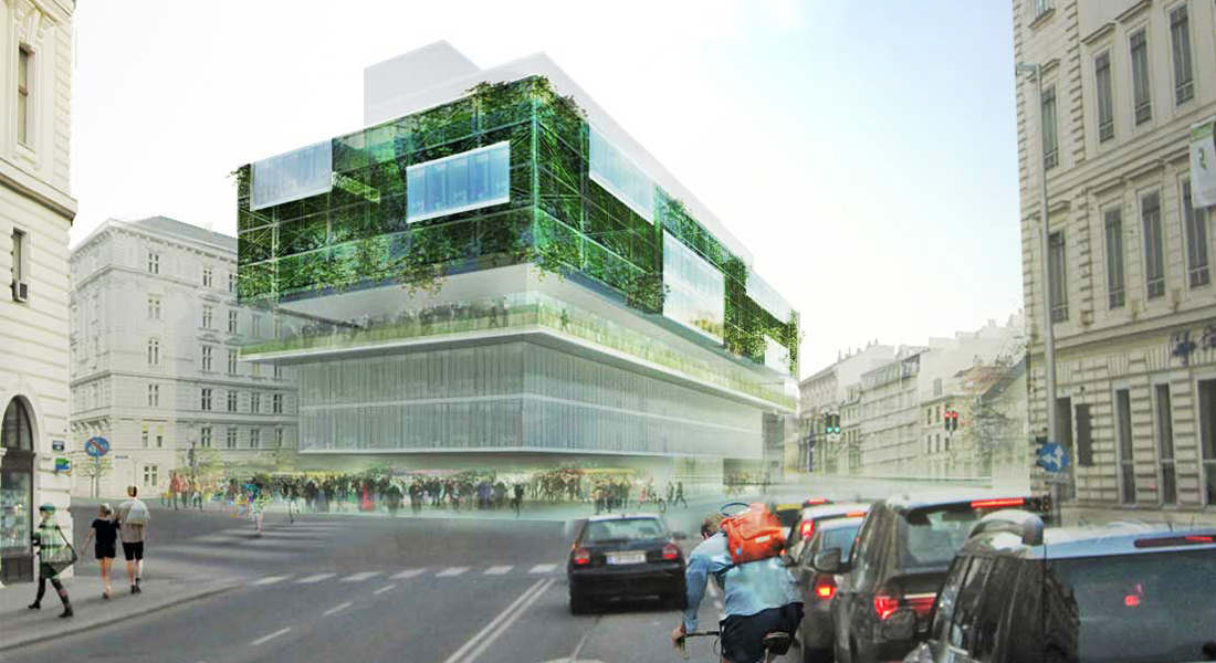 Visualisation, Renders, Graphic, Austrian architecture, austrian architects, green architecture, office building, street market