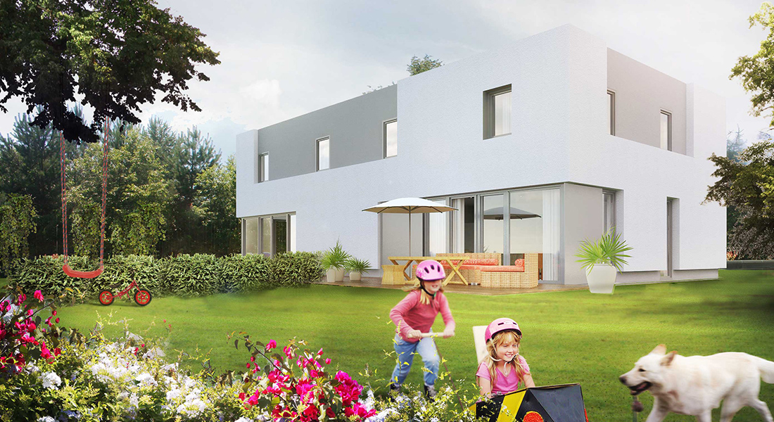 Visualisation, Semi Detached house, Austria, austrian architecture, render, graphic, happy living, prefabricated, tetris