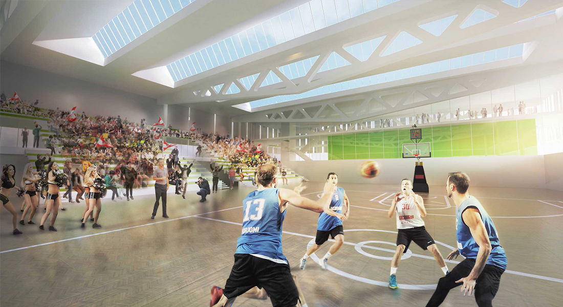 Visualisation, render, graphic, stadium, competition, architecture, design, interior design, architects austria, sport, basketball, construction