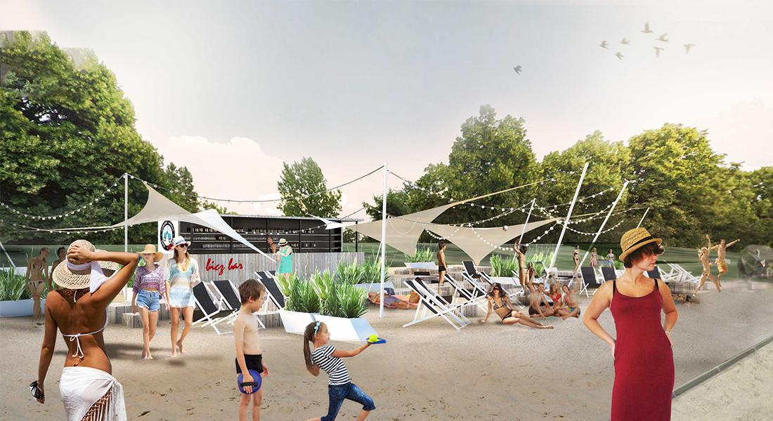 Visualisation, render, graphic, beach bar, warsaw, BULWARY NADWIŚLANE, vistula river, party, temporary architecture