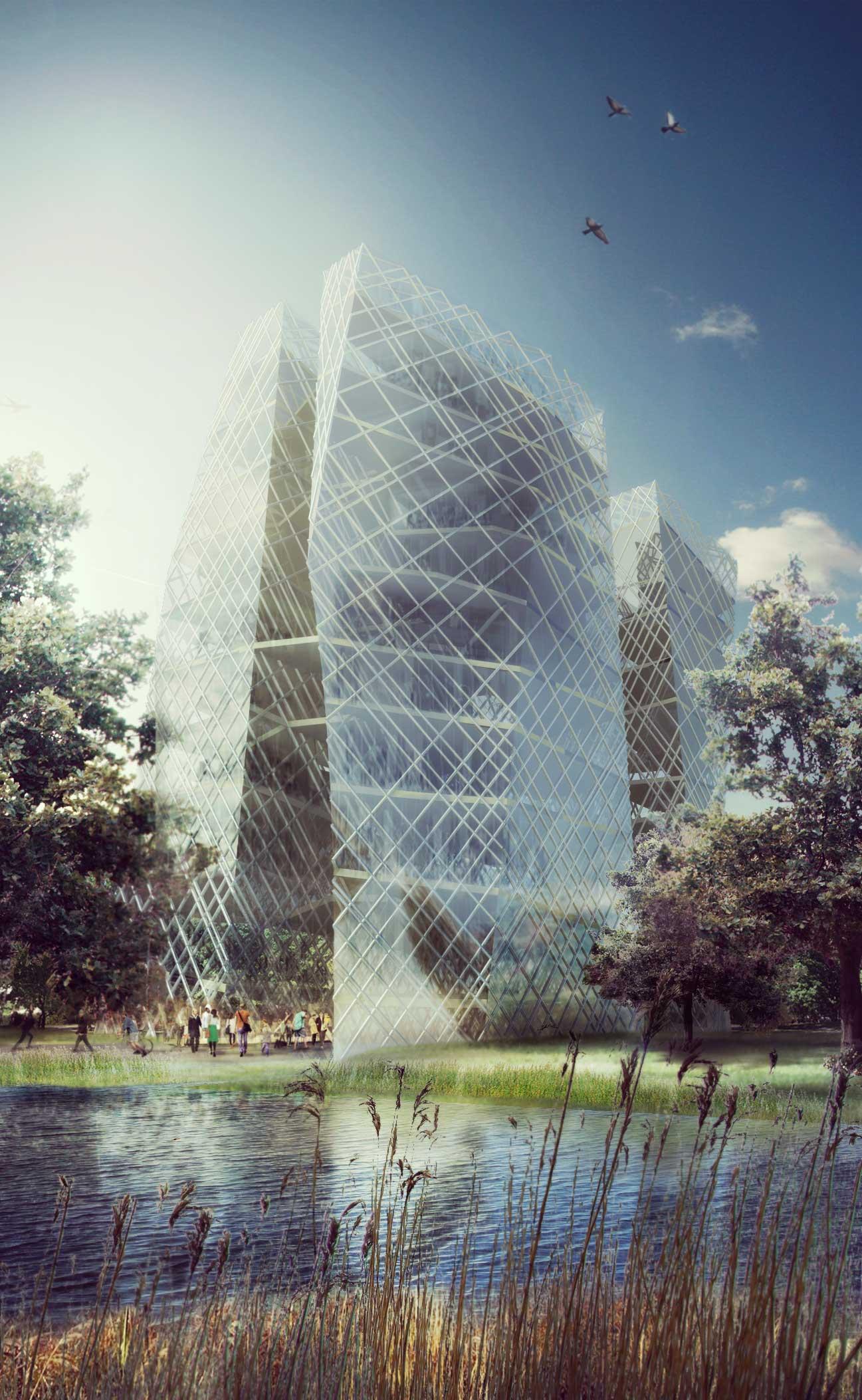 Visualisation, Render, Graphis, Berlin, Inssbruck, Architecture, Faculty of architecture, Austrian architect, Glass, skyscraper, Park