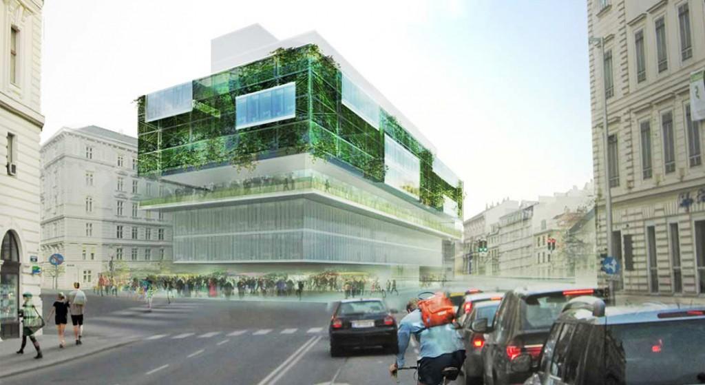 Visualisation, Renders, Graphic, Austrian architecture, austrian architects, green architecture, office building, street market